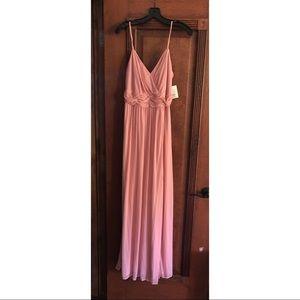 Long David's Bridal Ballet Pink V Neck Dress